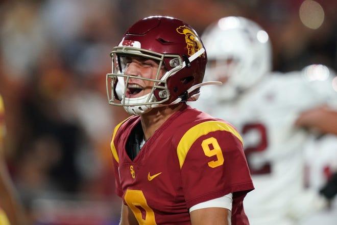 USC quarterback Kedon Slovis (9) played his high school football at Desert Mountain in Scottsdale.