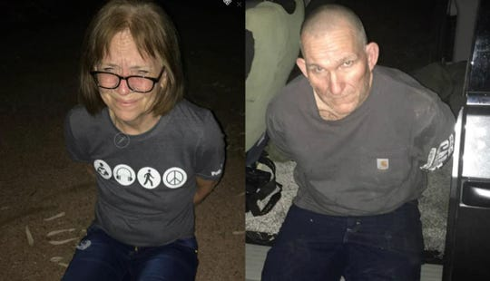 Susan and Blane Barksdale during their apprehension in a remote area of Gila County on Sept. 11, 2019.