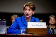 Barbara Barrett, the nominee to the secretary of the Air Force, speaks during her Senate Armed Services Committee confirmation hearing on Sept. 12, 2019, in Washington.