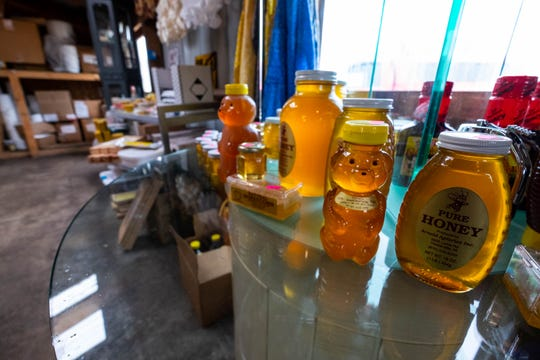 Products produced by Arnold Apiaries Inc. are on display in its Deckerville location.
