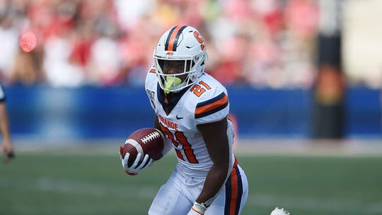 Syracuse running back Moe Neal runs the ball against Maryland during an NCAA football game on Saturday, Sept 7, 2019 in College Park, Md. The Orange host top-ranked Clemson on Saturday.