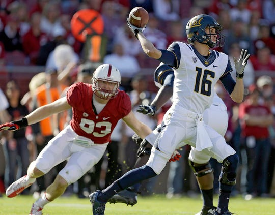 Trent Murphy, shown here rushing Cal's Jared Goff during their days as rivals in the Pac-12, had a standout career at Stanford.