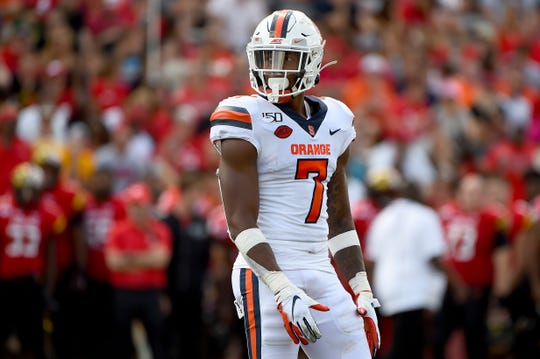"""Syracuse Orange defensive back Andre Cisco (7) looks on during the second half of last Saturday's loss at Maryland. Cisco has missed Syracuse's last two games with a """"lower body"""" injury."""