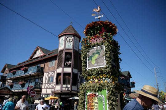 The Glockenspiel and the Die Fruchtsäule at Oktoberfest in Mt. Angel on Sep. 12, 2019. The festival continues through Sunday.
