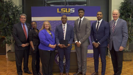LSUS Top 5 participants pictured left to right: Dave Smith, Executive Director, EAP; Jasmine Hill, Amber Sapp, Tafadzwa Mariga, Jaelon Davis, Wiley Graham, Larry Clark, LSUS Chancellor.