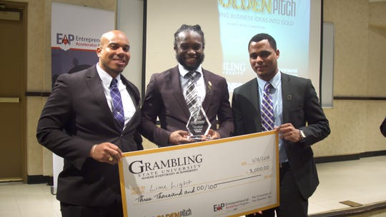 First Place winners at Grambling. Pictured left to right: Kerwan Antoine, Casey Henry, Jarrid Richards.