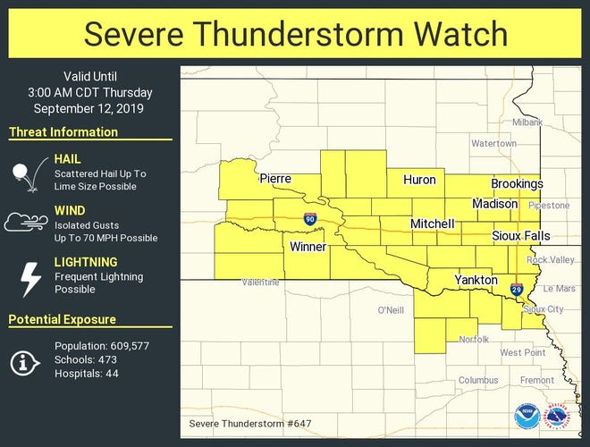 A severe thunderstorm watch has been issued for south-central and southeast South Dakota