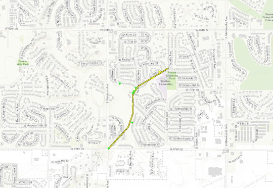 Tornado path for the area of 85th and Western