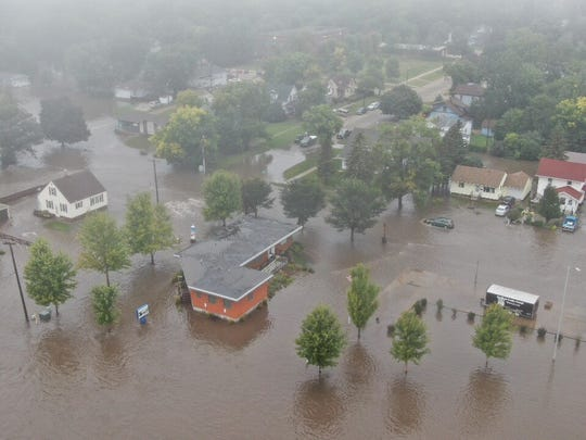 The city of Madison is shown after heavy rain caused flooding in the city on Thursday morning.