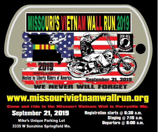 The Missouri Vietnam Wall Run will leave Springfield at 8 a.m. Sept. 21, bound for the Missouri National Veterans Memorial Vietnam Wall in Perryville.