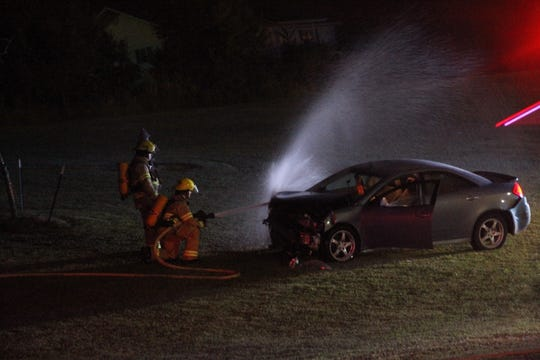 A vehicle struck the facade of Cassville High School Wednesday night and caught fire after the wreck.