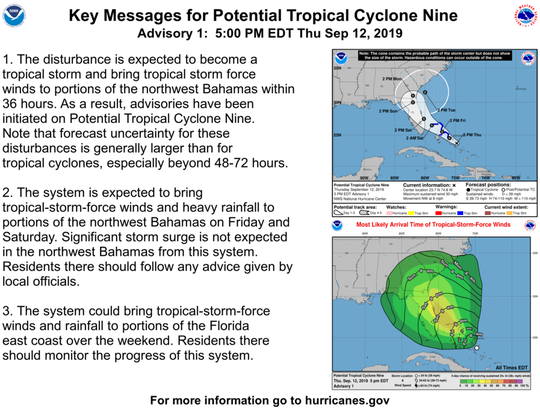 Key information about Potential Tropical Cyclone Nine from the National Hurricane Center on Thursday, Sept. 12, 2019.