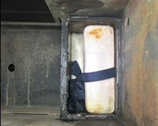 U.S. Customs and Border Protection officers found 166 pounds of cocaine in the beams of a trailer on Aug. 30, 2019, at the border in El Paso.