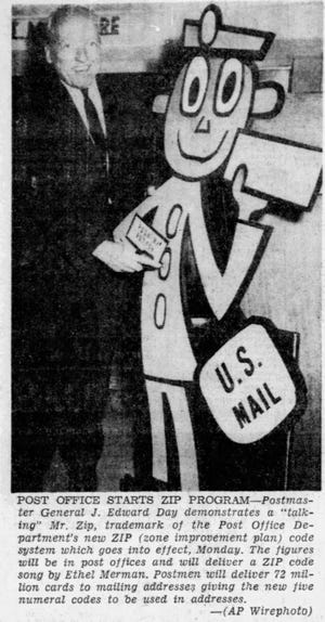 "This June 30, 1963, image shows the start of the Post Office's ZIP Program. In it, Postmaster General J. Edward Day demonstrates a ""talking"" Mr. Zip, the trademark of the Post Office Department's new ZIP (Zone Improvement Plan) code system. The figures were placed in post offices and delivered a ZIP code song by Ethel Merman. Postmen delivered 72 million cards to mailing addresses, giving the new five number codes to be used in addresses."