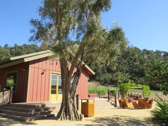 Outdoor seating is located near a proposed, but as yet unused, tasting-room building at Old Creek Ranch Winery. The business opened under new ownership in April 2018.