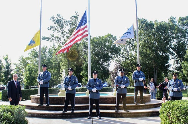 New Jersey State Corrections officers set the tone for a solemn ceremony to remember the attacks of September 11, 2001, during a ceremony at Rowan College of South Jersey in Vineland.
