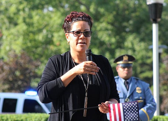 Jennifer Webb-McRae, Cumberland County Prosecutor, speaks those who gathered to remember the attacks of September 11, 2001, during a ceremony at Rowan College of South Jersey in Vineland.