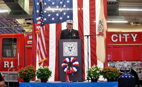 Retired Deputy Chief Ronald Martinelli was the keynote speaker at the City of Vineland Patriot Day Ceremony on Wednesday, September 11, 2019.
