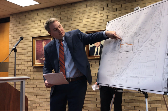 Corning Pharmaceutical Glass was before the Vineland Planning Board Wednesday night to get approval to redraw property lines along Crystal Avenue. Attorney Matthew Robinson points out the affected properties.