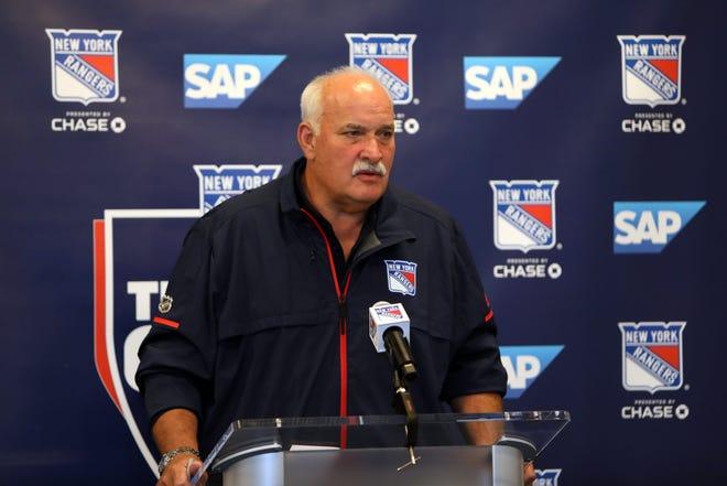 New York Rangers team president John Davidson speaks to the media on opening day of training camp at the MSG Training Center in Tarrytown Sept. 12, 2019.