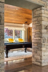The billiards room at a custom-built home in Armonk.
