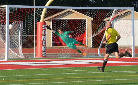 A far-post shot from Nico Bisgaier eludes Somers goalie Declan Foley during the Tuskers' 4-3 loss to Byram Hills on Sept. 11, 2019 at Somers High School.