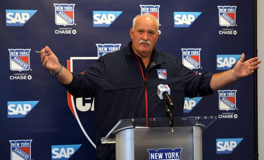 New York Rangers team president John Davidson speaks to the media on opening day of training camp at the MSG Training Center in Tarrytown Sept. 12, 2019.