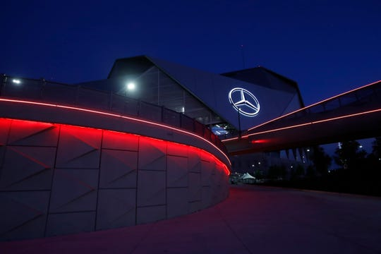 Mercedes Benz Stadium is shown after an NCAA college football game between Alabama and Duke Saturday, Aug. 31, 2019, in Atlanta. (AP Photo/John Bazemore)