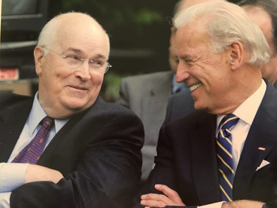 Larry Sullivan and Joe Biden share a laugh at Sullivan's retirement party in May, 2009. Biden participated in a roast-style dinner to honor Sullivan.