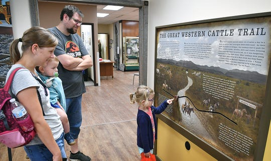 Luisa Hein, 3, checks out on of the interactive displays as her family, Sebastian, Katharina and Leon Hein watch during a visit to the childrens exhibit at the Museum of North Texas History Thursday.