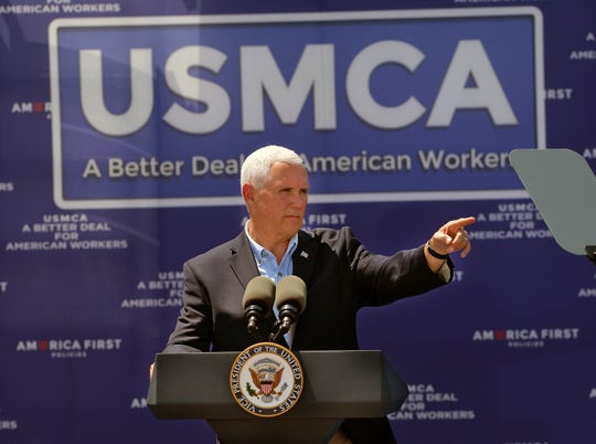 Vice President Mike Pence stepped up pressure on Congress to support the Trump administration's new trade deal with Mexico and Canada, taking his pitch to a congressional swing district in New Mexico.