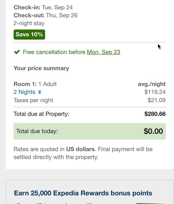 Expedia's checkout cart lists only the first night taxes, not the total