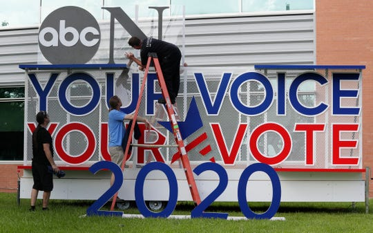 Signage is erected for the upcoming Democratic presidential primary debates hosted by ABC on the campus of Texas Southern University, Wednesday, Sept. 11, 2019, in Houston.