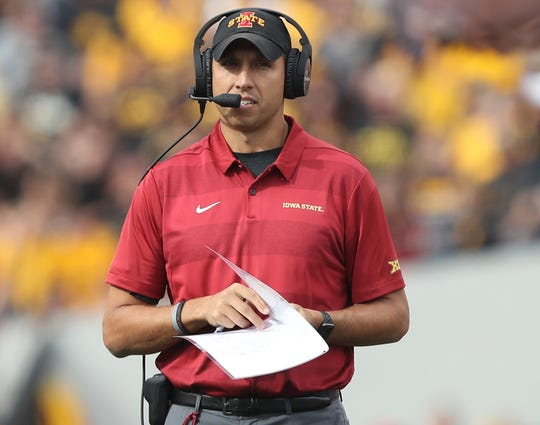 Iowa State coach Matt Campbell watches his team play against Iowa during the 2018 season.
