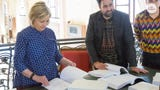Hillary Clinton visited an art exhibition in Venice, Italy where 62,000 pages of her emails were displayed.