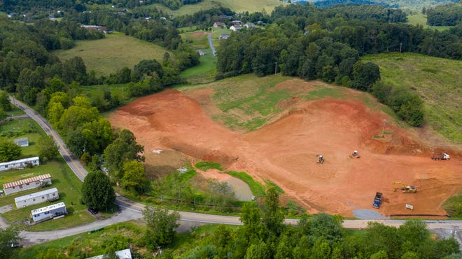 An aerieal photo of the Rock Creek Village site shows the progress made to the 27.5 acre tract on Parkway View Drive in Mars Hill.