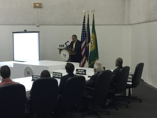 Binghamton Mayor Richard David delivers his 2020 budget address Thursday, Sept. 12, 2019.