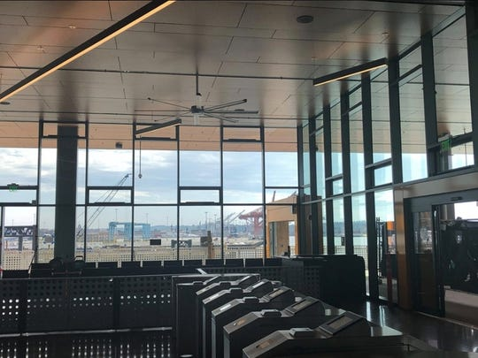 A view from inside the new ferry terminal at Colman Dock.