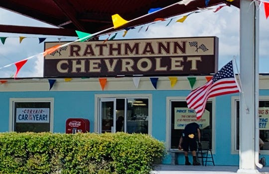 The service department for Pat Fischer Nissan in Titusville was temporarily turned into an Apollo era Jim Rathman Chevrolet for the filming of the tv series The Right Stuff. Photo credit: Holly Carver/Rocket City Real Estate