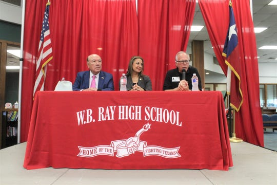 From the left, state Sen. Juan Hinojosa, D-McAllen; Texas Secretary of State Ruth Hughs; and state Rep. Todd Hunter, R-Corpus Christi, address Ray High School seniors about the importance of voting, on Friday, Sept. 13, 2019.