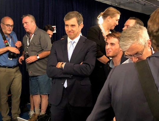 Beto O'Rourke waits to be interviewed by MSNBC in the spin room after the Democratic presidential debate in Houston, Sept. 2019.