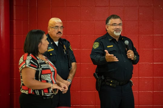 Chief Erasmo Flores of the Robstown Police Department talks to parents during a parents safety training event at Seale Junior High on Thursday, Sept. 12, 2019.