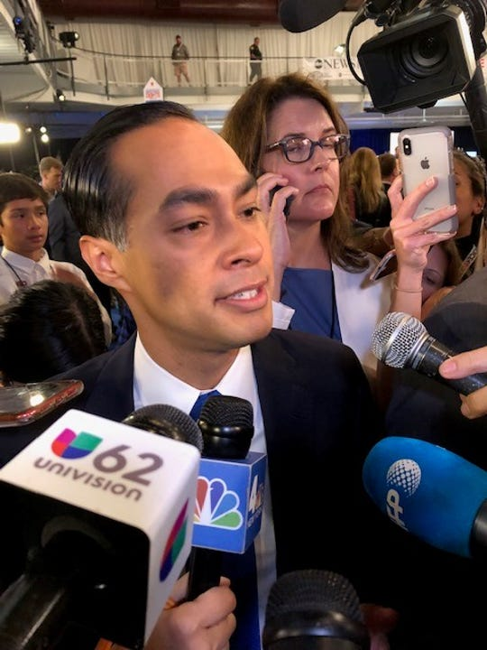 Julián Castro speaking to reporters after the Democratic presidential debate in Houston, Sept. 12, 2019.