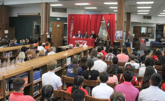 Ray High School seniors hear from state officials, including newly appointed Texas Secretary of State Ruth Hughs, about the importance of voting, on Friday, Sept. 13, 2019.
