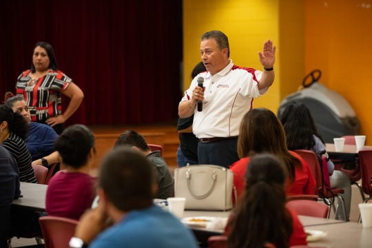 Robstown ISD Superintendent Jose Moreno talks to parents during a parents safety training event at Seale Junior High in Robstown on Thursday, Sept. 12, 2019.