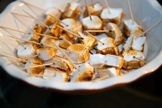 Toasted marshmallow samples inside The Artisan Marshmallow storefront in Mullica Hill, N.J.