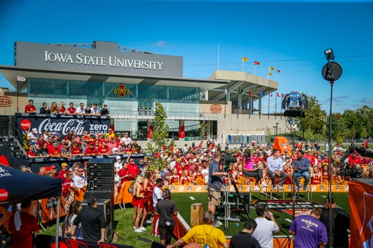 ESPN College GameDay films outside of Jack Trice Stadium in Ames Friday, Sept. 13, 2019.