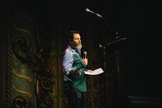 "Nick Offerman practices for his new show ""All Rise."""