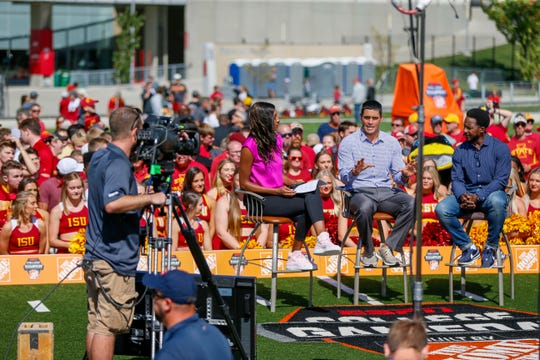 Maria Taylor, David Pollack, and Desmond Howard host ESPN College GameDay outside of Jack Trice Stadium in Ames Friday, Sept. 13, 2019.