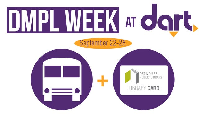 Des Moines Public Library cardholders can ride DART for free Sept. 22-28.